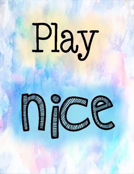 Play Nice - Classroom Poster