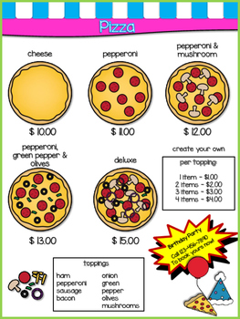Play Restaurant Menu- For use in your classroom kitchen! green,blue,pink