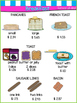 """Play Restaurant Menu - Green/Pink/Blue - """"Edited Version (prices of items)"""""""