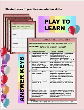 Play Rhetorical Device Baseball Game - Learn through Fun! CCSS Aligned