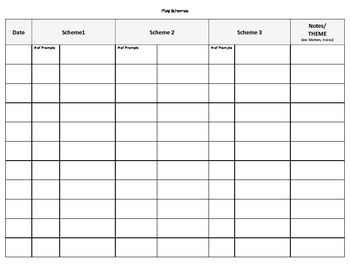 Play Schemes Data Collection Sheet
