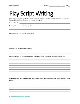 Play script writing template by very happy in the middle tpt for Script writing template for kids