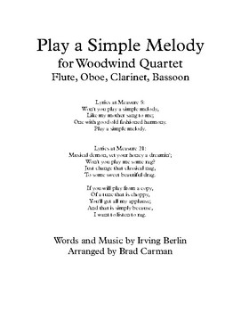 Play a Simple Melody for Woodwind Quartet