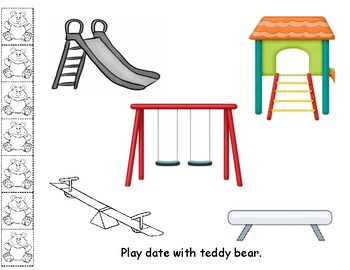 Play date with teddy bear color mat