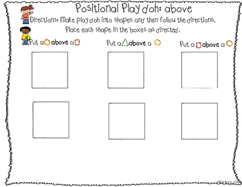 Play doh mats: positional words (differentiated)