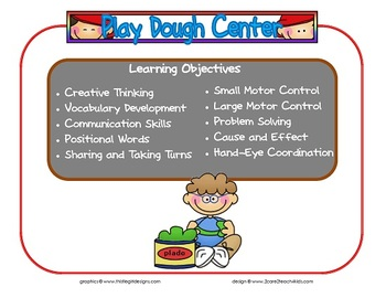 Play-dough Learning Center Sign~ With Objectives
