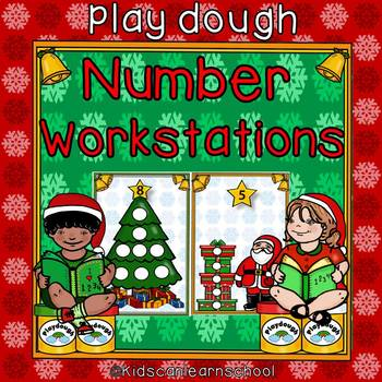 Play dough Math Workstation-Number recognition-Christmas Edition