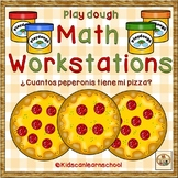 Play dough Math Workstations-Numeros 1-10-Cuantos peperonis en la pizza.