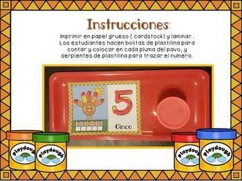 Play dough Math Workstations-Numeros de Thanksgiving-1-10 en Espanol.