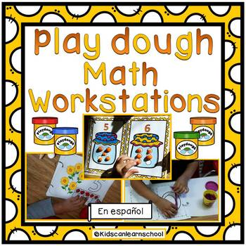 Play dough Math Workstations in Spanish.