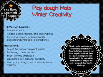 Play dough Mats Winter Creativity Theme