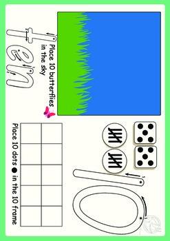 Maths Centre: Play dough mats 1 to 10 (Kindergarten/ Pre K)