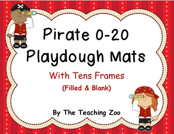 Play dough mats- Numbers 0-20 with differentiated  tens frames {Pirate theme}