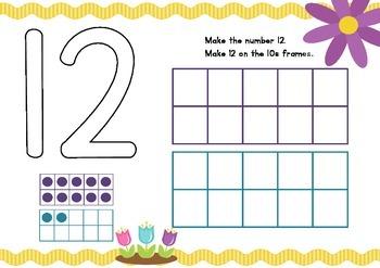 Play dough mats - teen numbers - spring themed - print font