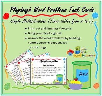 Play dough word problem task cards (  set 2, multiplications)