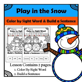 Play in Snow - Color by Sight and Build a Sentence