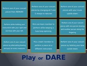 Play or Dare game for music classes