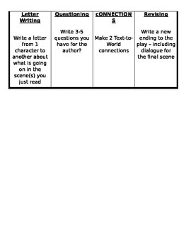 Play/Drama Reader's Response Tic-Tac-Toe