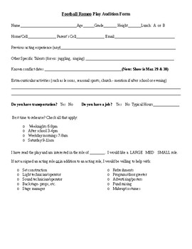 Play/Musical Audition Form