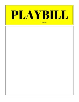 playbill template free by words and bobbins teachers pay teachers