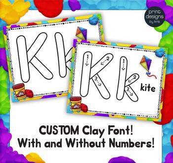 Playdoh Alphabet Mats with Custom Clay Font