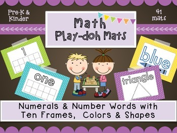 Math Play-Doh Mats: Numbers with ten frames, Shapes, and Colors