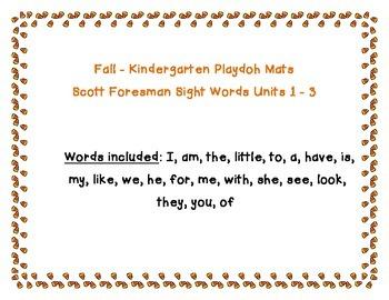 *Playdoh Mats* Fall themed kindergarten sightwords