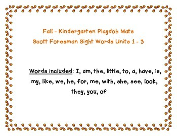 *Playdoh Mats* Fall themed kindergarten sightwords