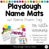 Playdoh Name Mats  & Poem for Back to School Editable