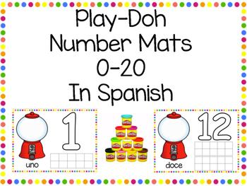 Playdough Number Mats in Spanish 0-20