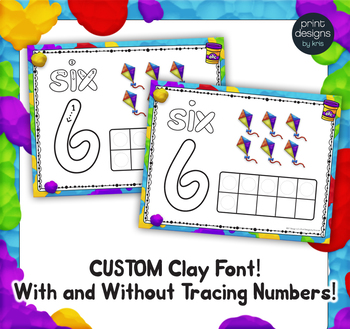 Playdoh Number Mats with Custom Clay Font