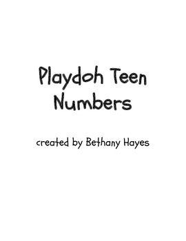 Playdoh Teen Numbers