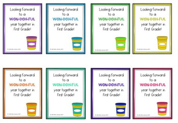 Playdoh student gift tags - Beginning of Year and End