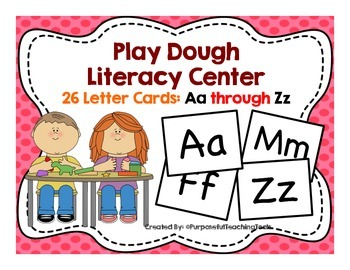 Playdough Center Alphabet Cards - Common Core Sensory Activity Literacy Centers