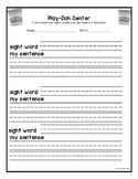 Playdough Center Recording Sheet