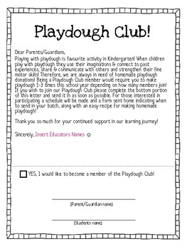 Playdough Club Sign Up Letter & Schedule - Parents Kindergarten Ontario FDK