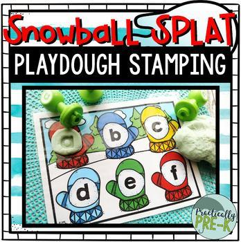 Playdough Letter Stamping: Winter (Snowball Splat)