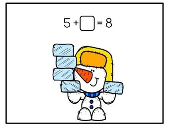 Playdough Math Mats - Missing Addends For Winter