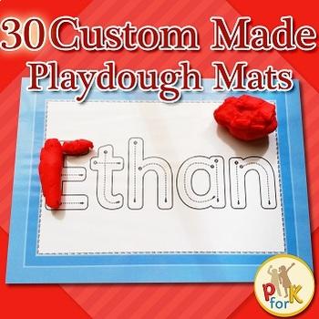 Name Playdough Mats - 30 Custom Made Mats