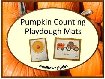 Playdough Mats Counting Pumpkins, Preschool, Kindergarten,