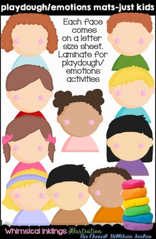 Playdough Mats~Emotion Mats Just Kids Clipart Collection