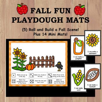 Playdough Mats - Fall Scene Roll and Build + 14 Fall Mini Mats