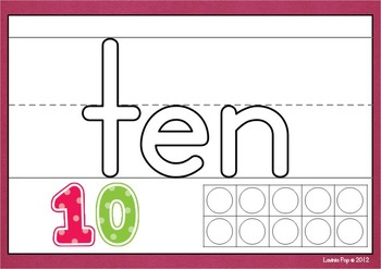 Playdough Mats - Number Words with Lines and Ten Frames (0-20)