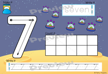 Playdough Mats Numbers (0-20), Ten Frames, Number Lines - Space Theme!