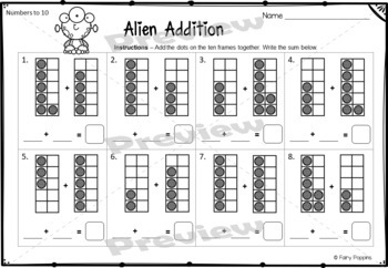 Space Math Mats - Numbers, Ten Frames, Number Lines