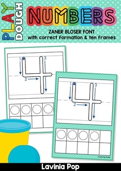 Playdough Mats - Numbers (0-20) with Ten Frames Zaner Bloser