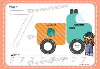 Transport Playdough Mats Numbers (0-30)