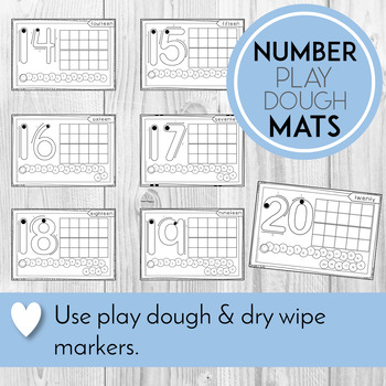 Playdough Mats Numbers 1 - 20, With Ten Frames and Caterpillar Counting Spaces
