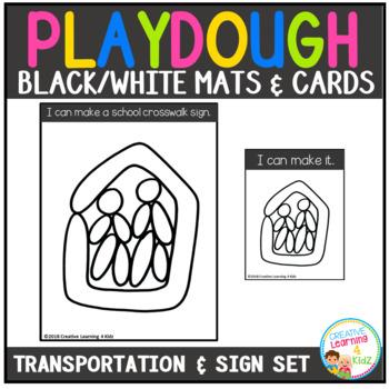 Playdough Mats & Visual Cards: Transportation & Traffic Signs Set