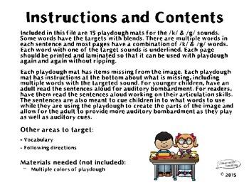 Playdough Mats for Articulation: K & G Edition